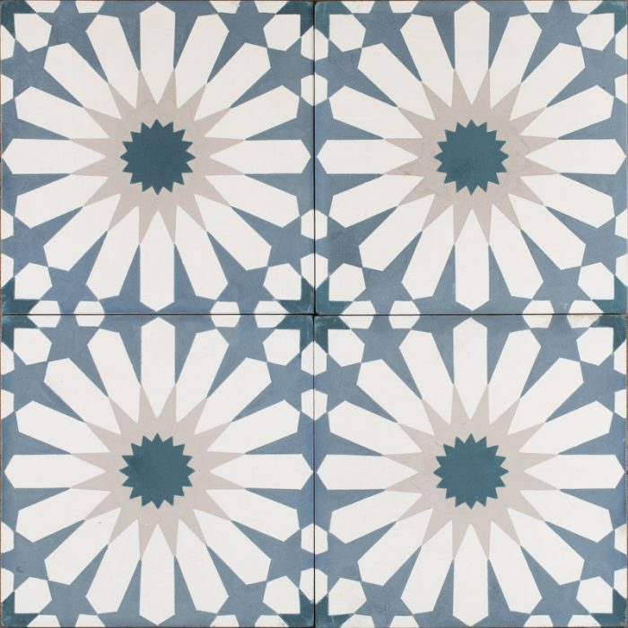 smokey blue daisy tile