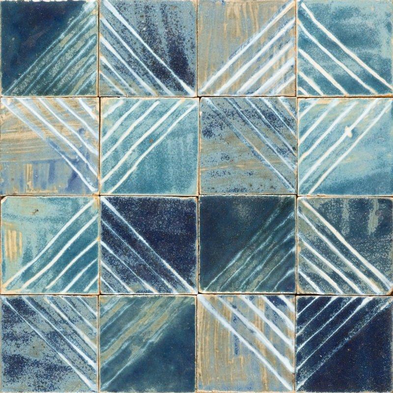 blue glossy handpainted white tiles