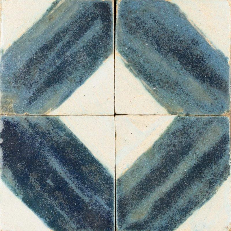 blue and white handpainted diamond tile